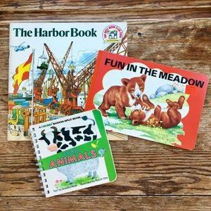 (3) Vintage Books—Farm Animals, Harbor, Meadow